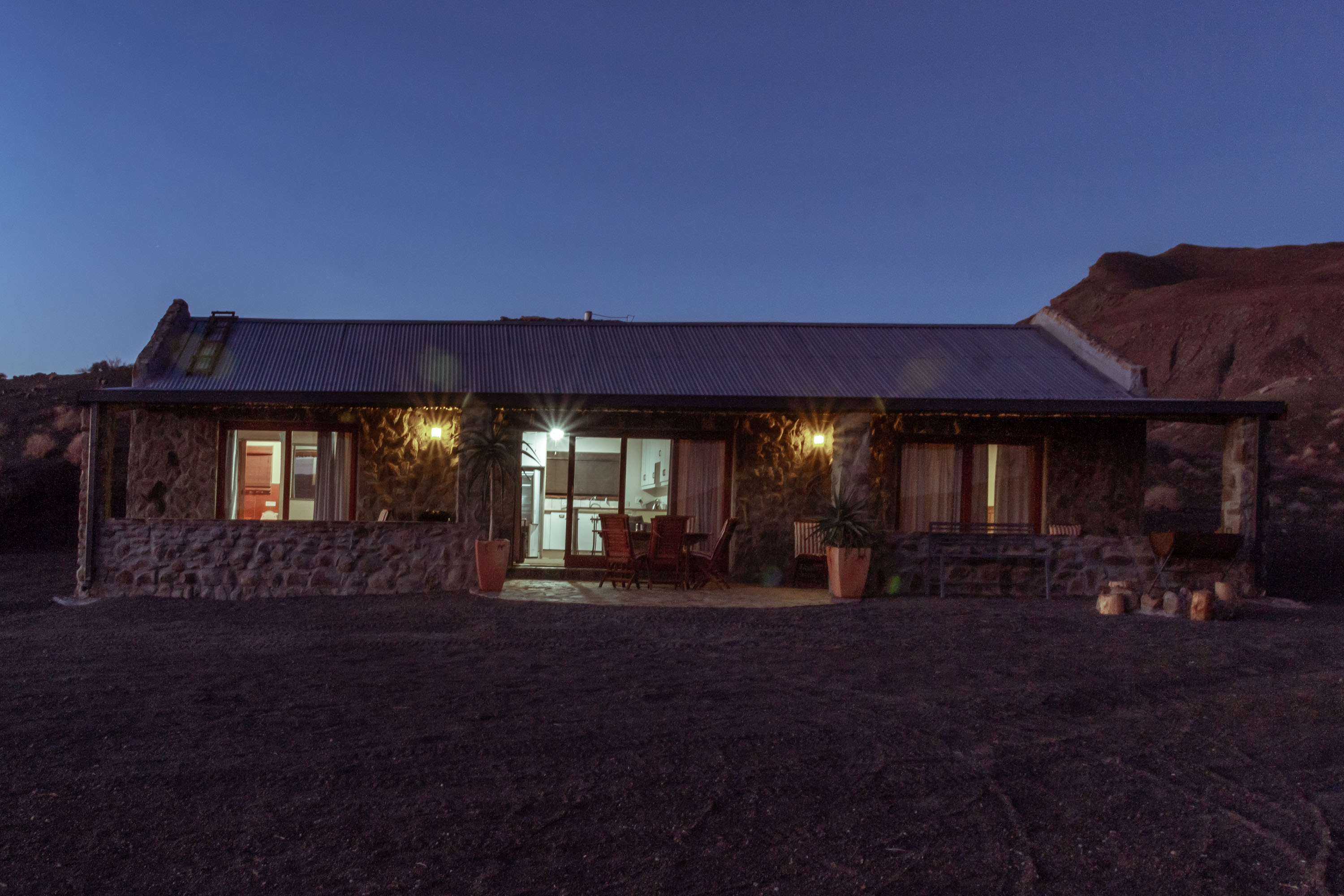 The cottage at night